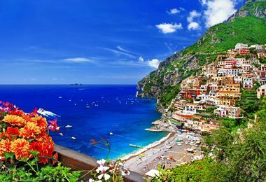 Positano beach on the Amalfi Coast, Italy