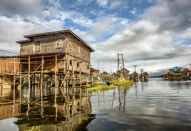 Houses on stilts on Inle Lake, Myanmar