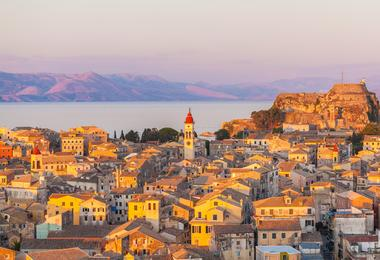 Corfu Town at sunset