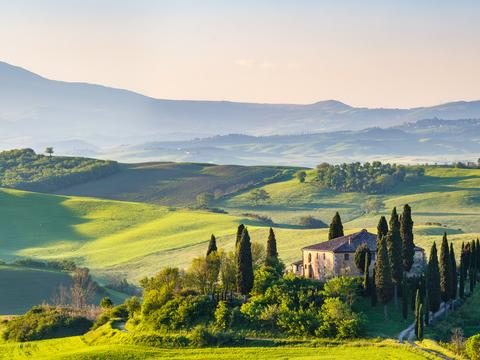 Rolling hills in Tuscany in Italy