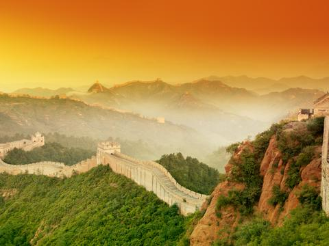 Panoramic view of the Great Wall stretching to the horizon