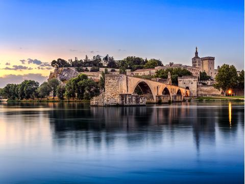 Avignon Bridge at sunset