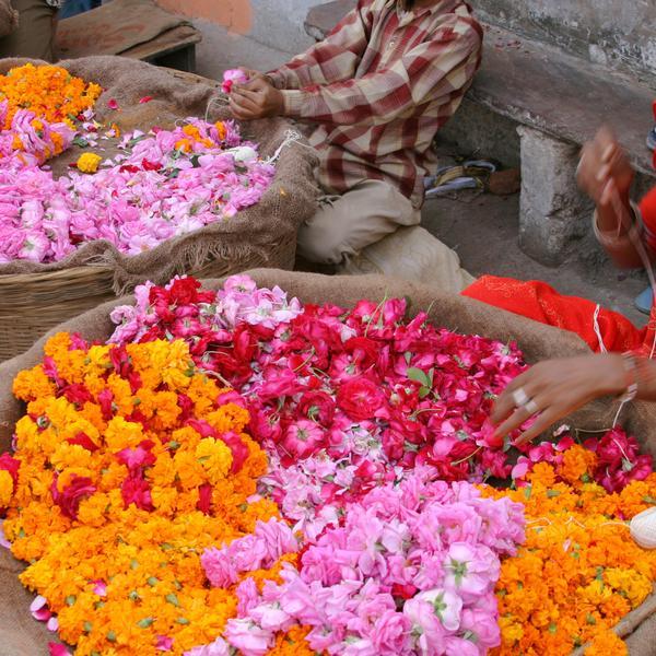 Flower seller in Indian market