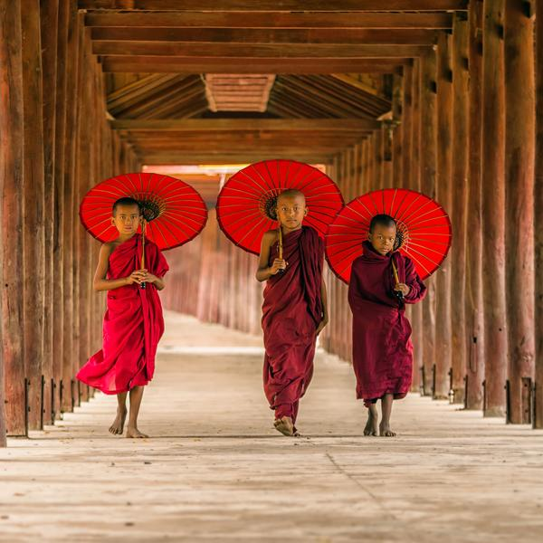 Trainee monks in Myanmar