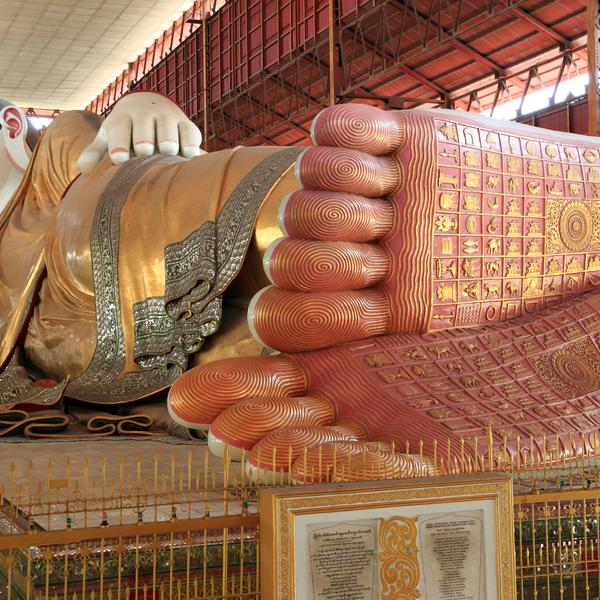 Reclining Buddha in Yangon in Myanmar