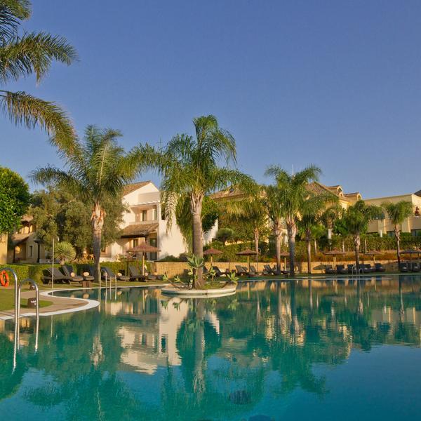 The pool of the luxurious Hotel Almenara in the Costa del Sol