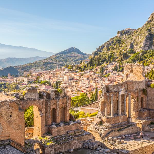 Runis in the Sicilian town of Taormina, Italy