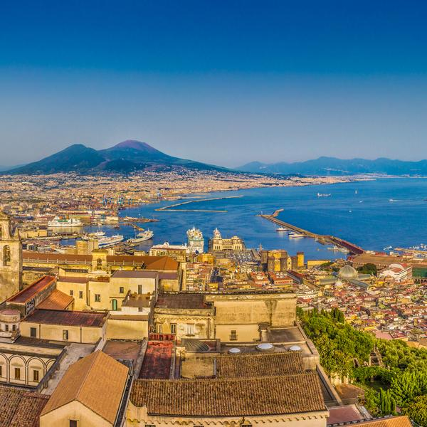 Panoramic view of the city of Napoli (Naples) with famous Mount Vesuvius