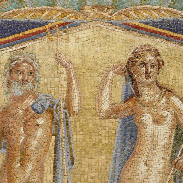 Wall mosaic at the ancient Roman city of Herculaneum,Pompeii
