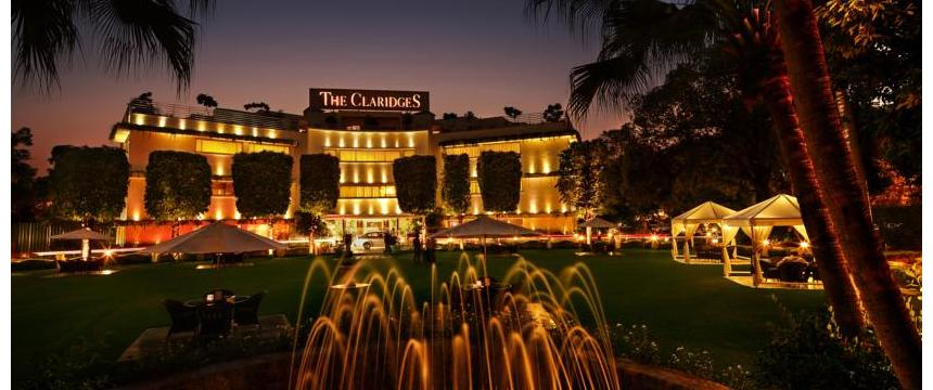 A view of fountains and gardens surrounding the five-star hotel, The Claridges, in New Delhi