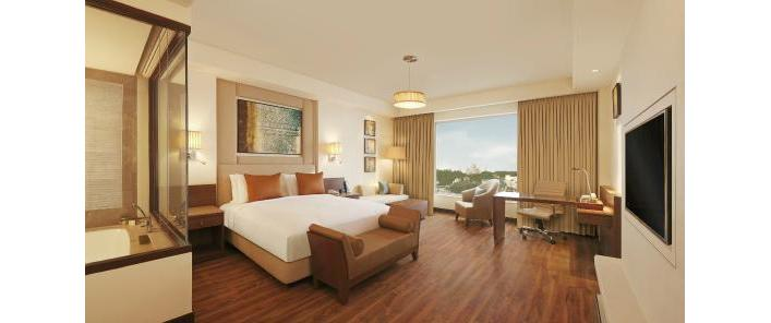 One of the spacious rooms in the Doubletree by Hilton in Agra with views of the Taj Mahal