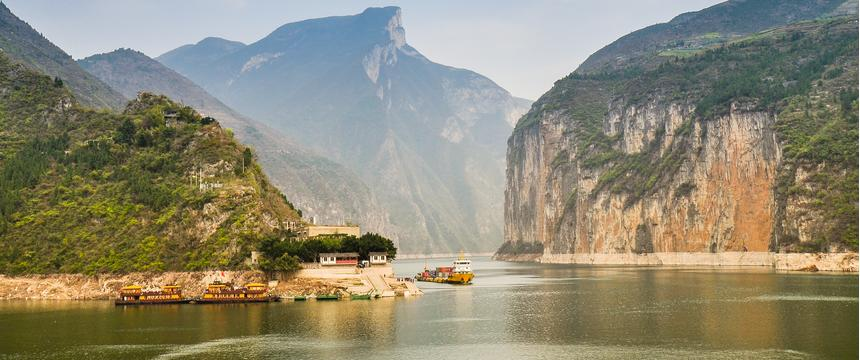 Rising cliffs flank the Qutang Gorge at sunset on the Yangtze River