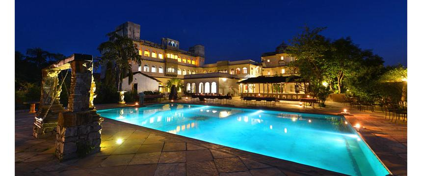 A view over the pool at the heritage hotel Castle Bijaipur in Rajasthan