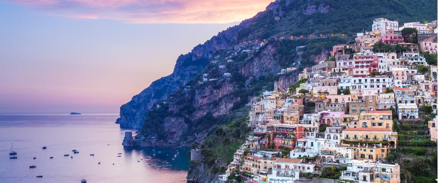 View over the colourful town of Sorrento, Italy at sunset