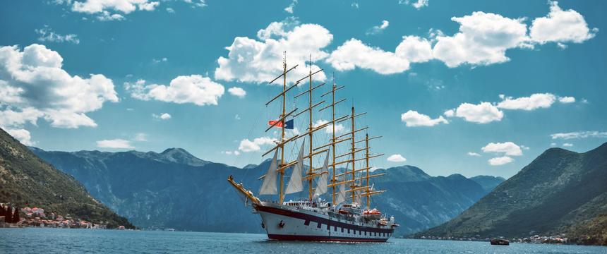 The Royal Clipper sailing across the Mediterranean sea